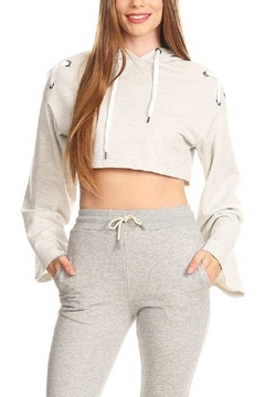 Shoptiques Product: Lace Up Crop Hoodie