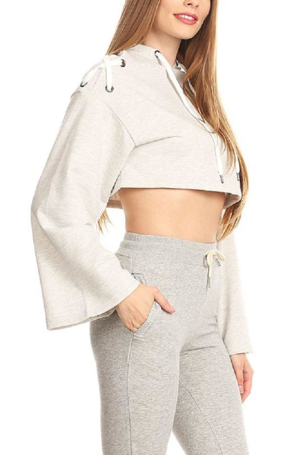 On Twelfth Lace Up Crop Hoodie - Front Full Image