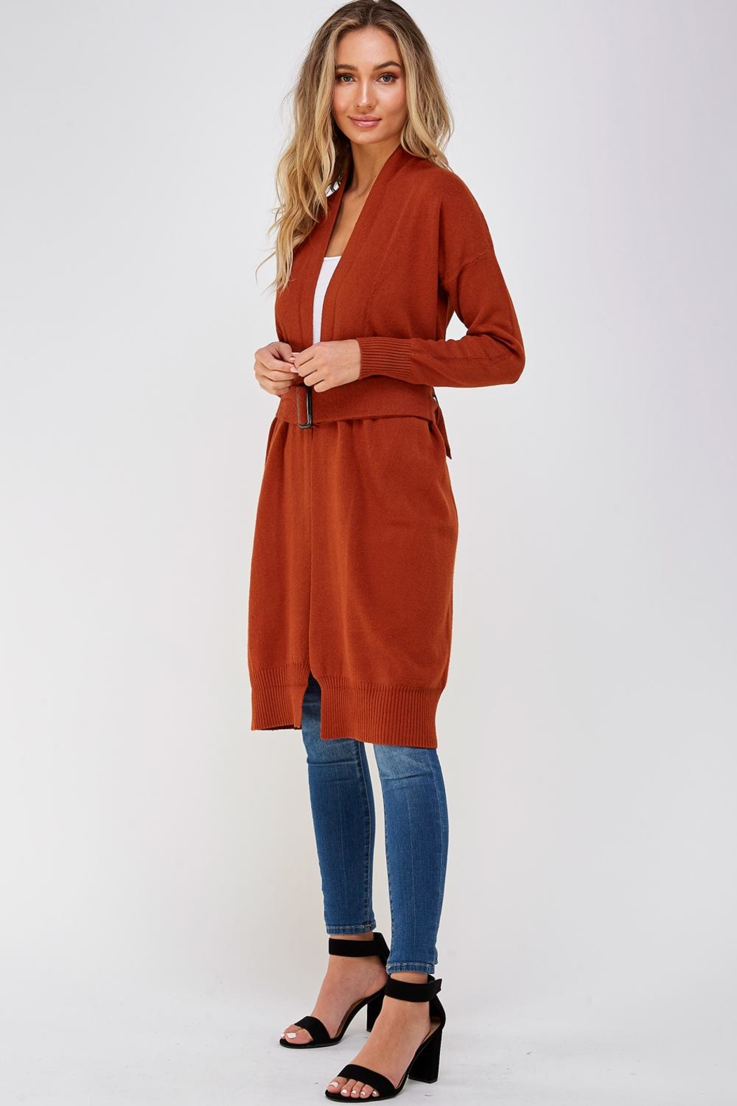 On Twelfth Long Belted Cardigan - Side Cropped Image