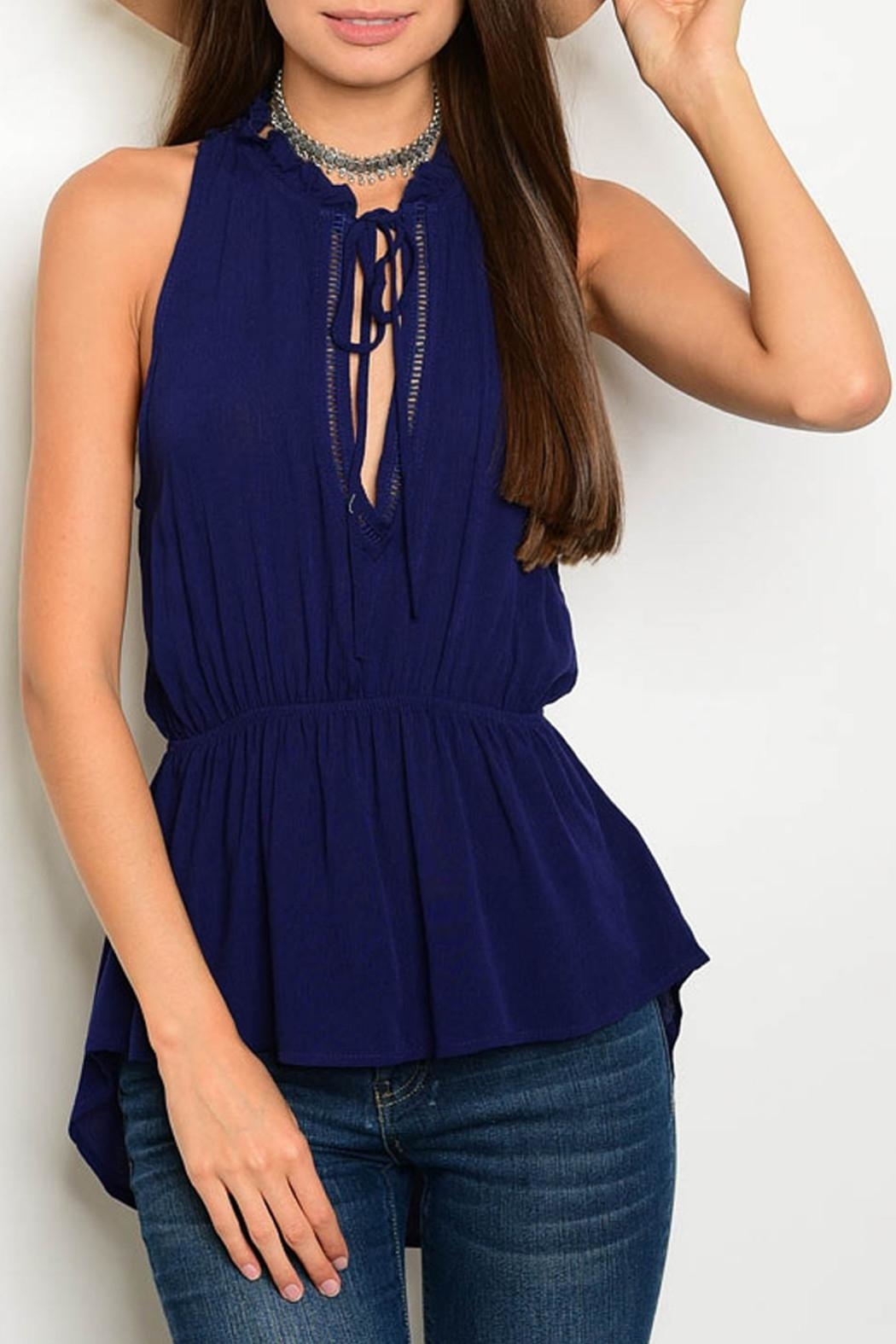 On Twelfth Navy Ruffle Top - Front Cropped Image