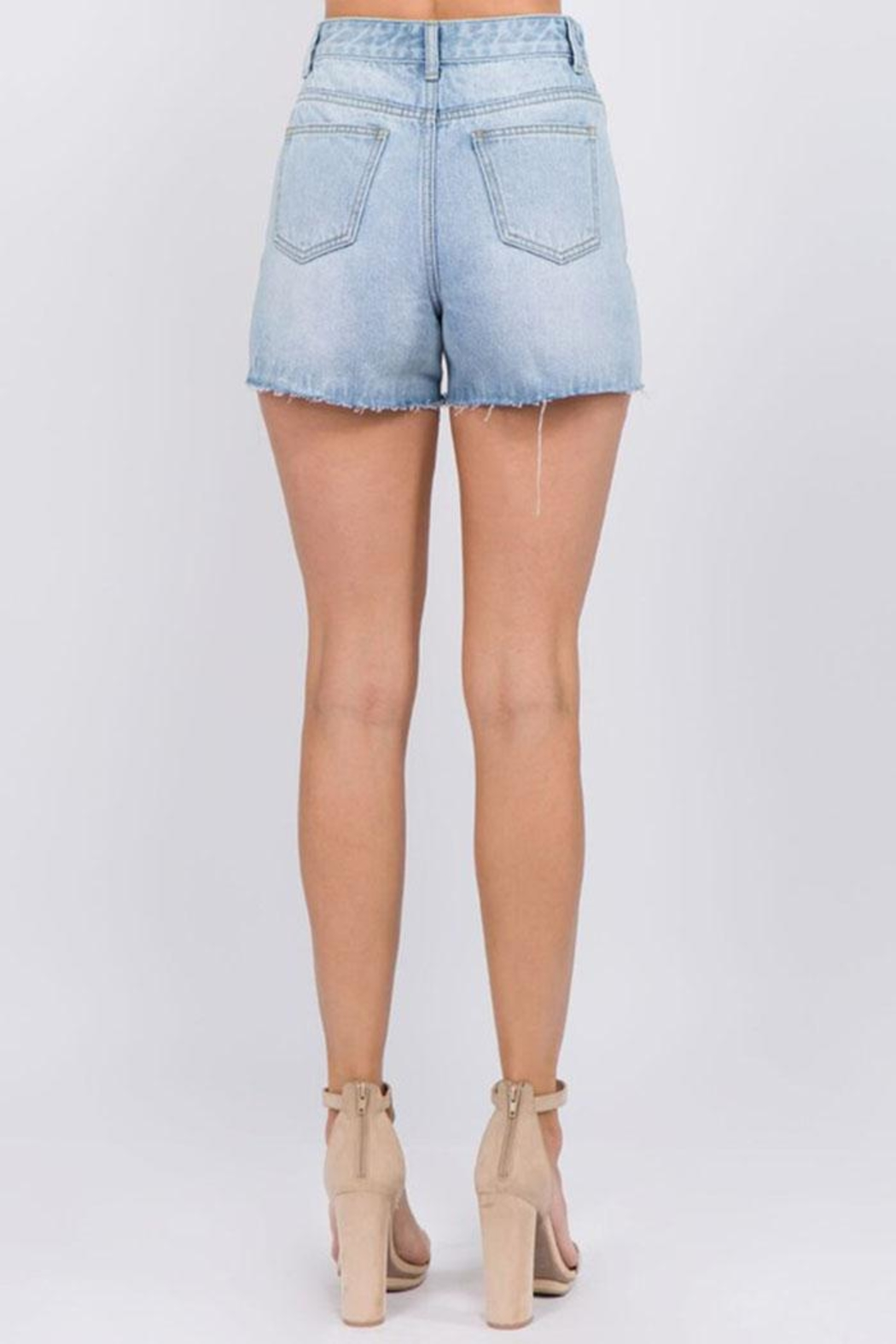 On Twelfth Rhinestone Denim Shorts - Side Cropped Image