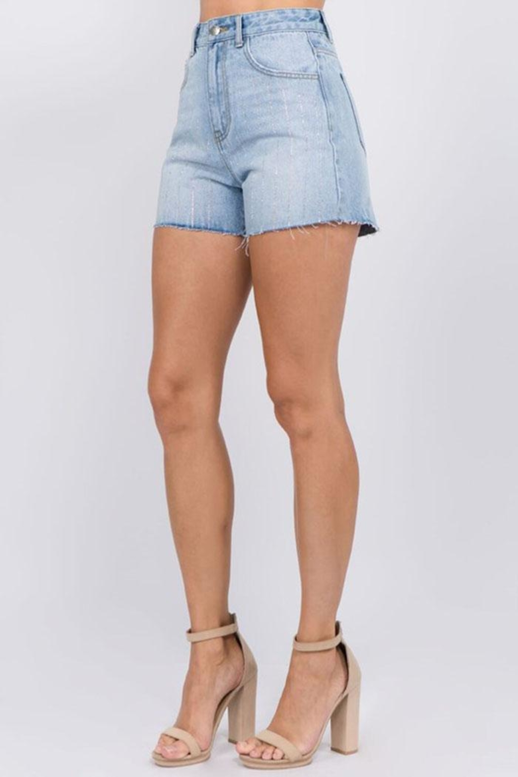 On Twelfth Rhinestone Denim Shorts - Front Full Image