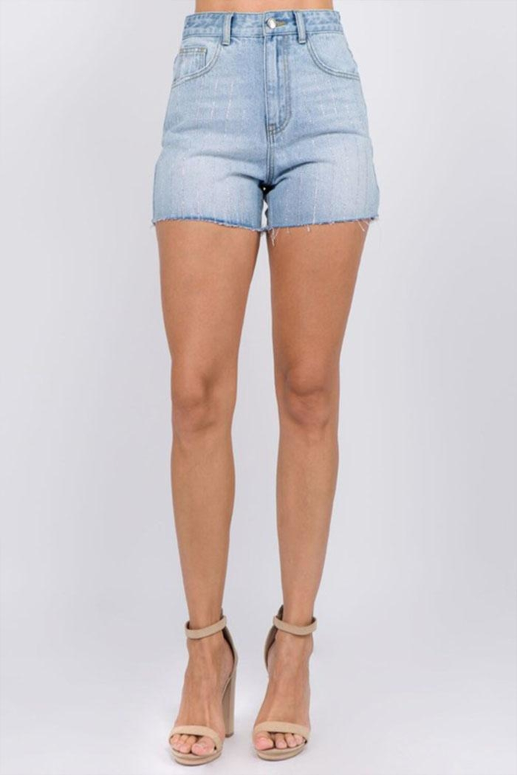 On Twelfth Rhinestone Denim Shorts - Main Image