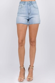 On Twelfth Rhinestone Denim Shorts - Front cropped