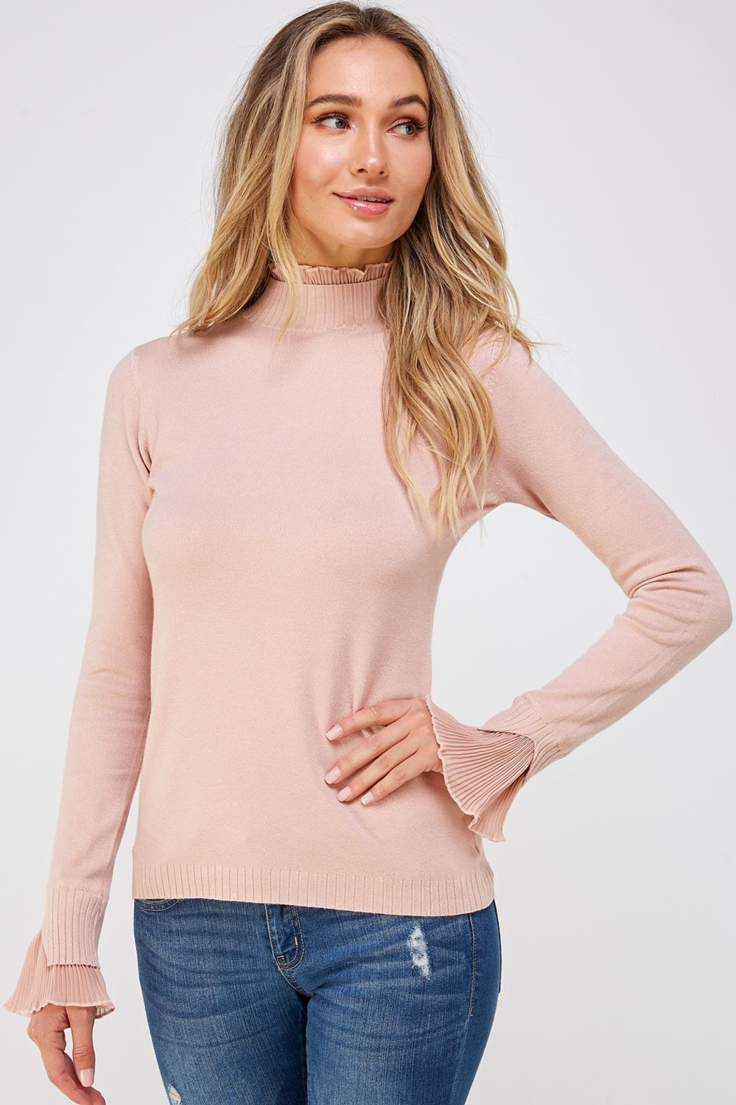 On Twelfth Ruffle Mock-Neck Sweater - Front Cropped Image