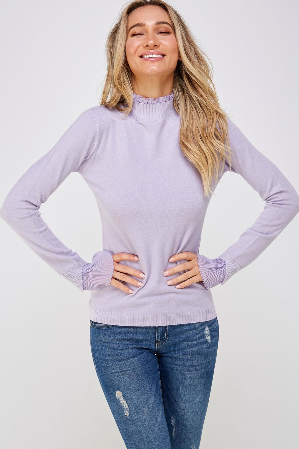 On Twelfth Ruffle Mock-Neck Sweater - Front Full Image