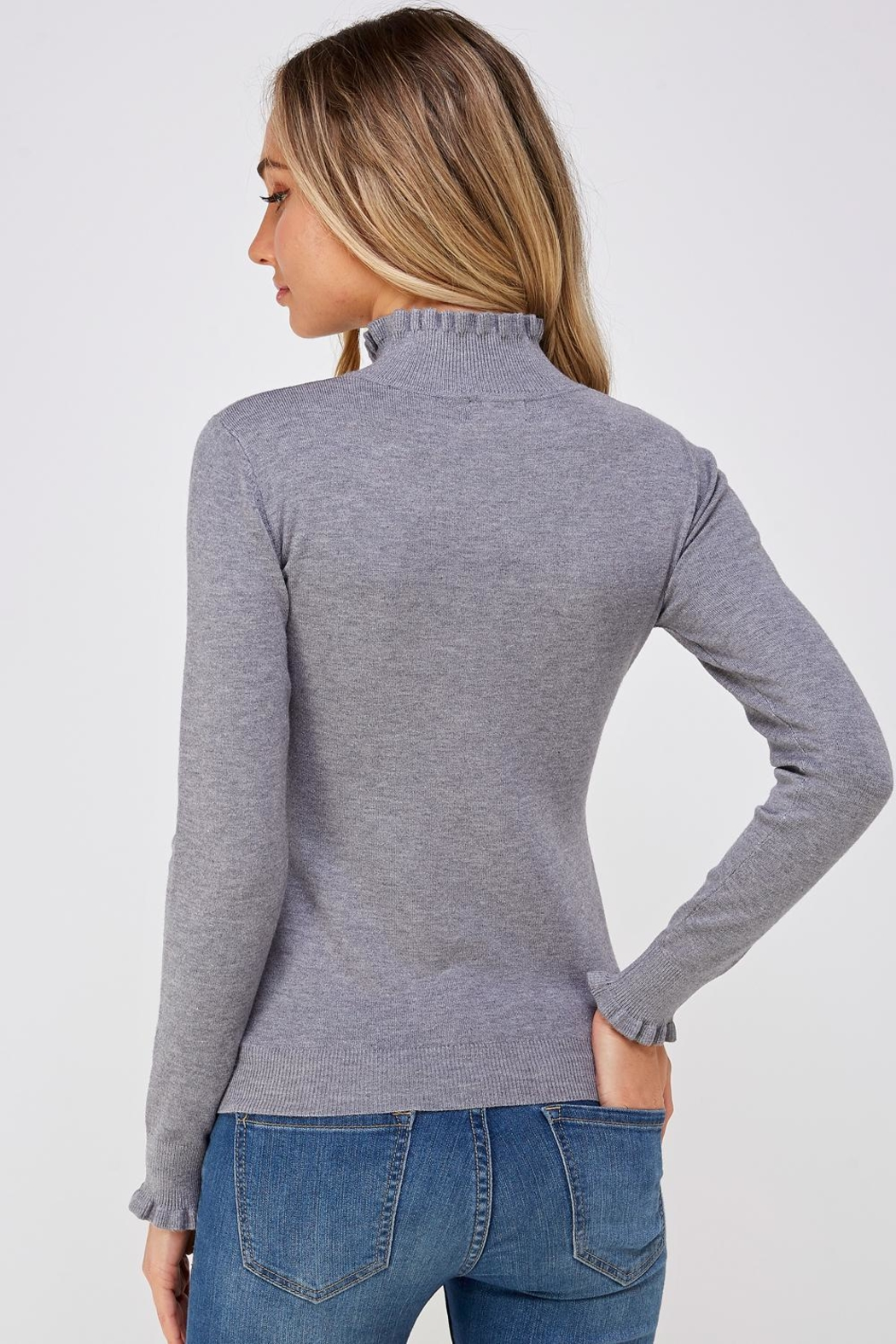 On Twelfth Ruffle Neck Sweater - Back Cropped Image