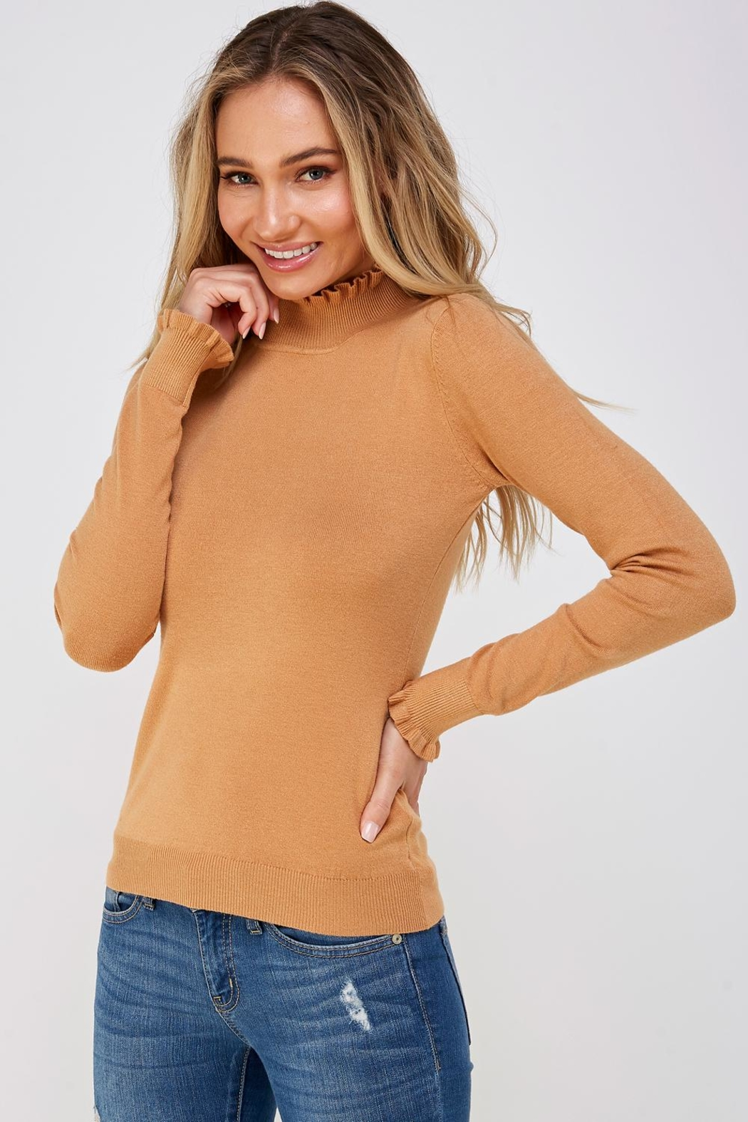 On Twelfth Ruffle Neck Sweater - Side Cropped Image