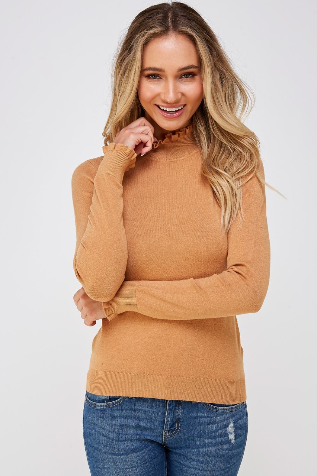 On Twelfth Ruffle Neck Sweater - Front Full Image