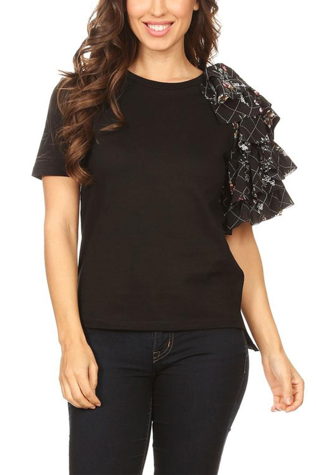 On Twelfth Side Ruffle Tee - Front Cropped Image