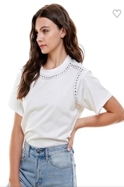 On Twelfth White Studded Top - Product Mini Image