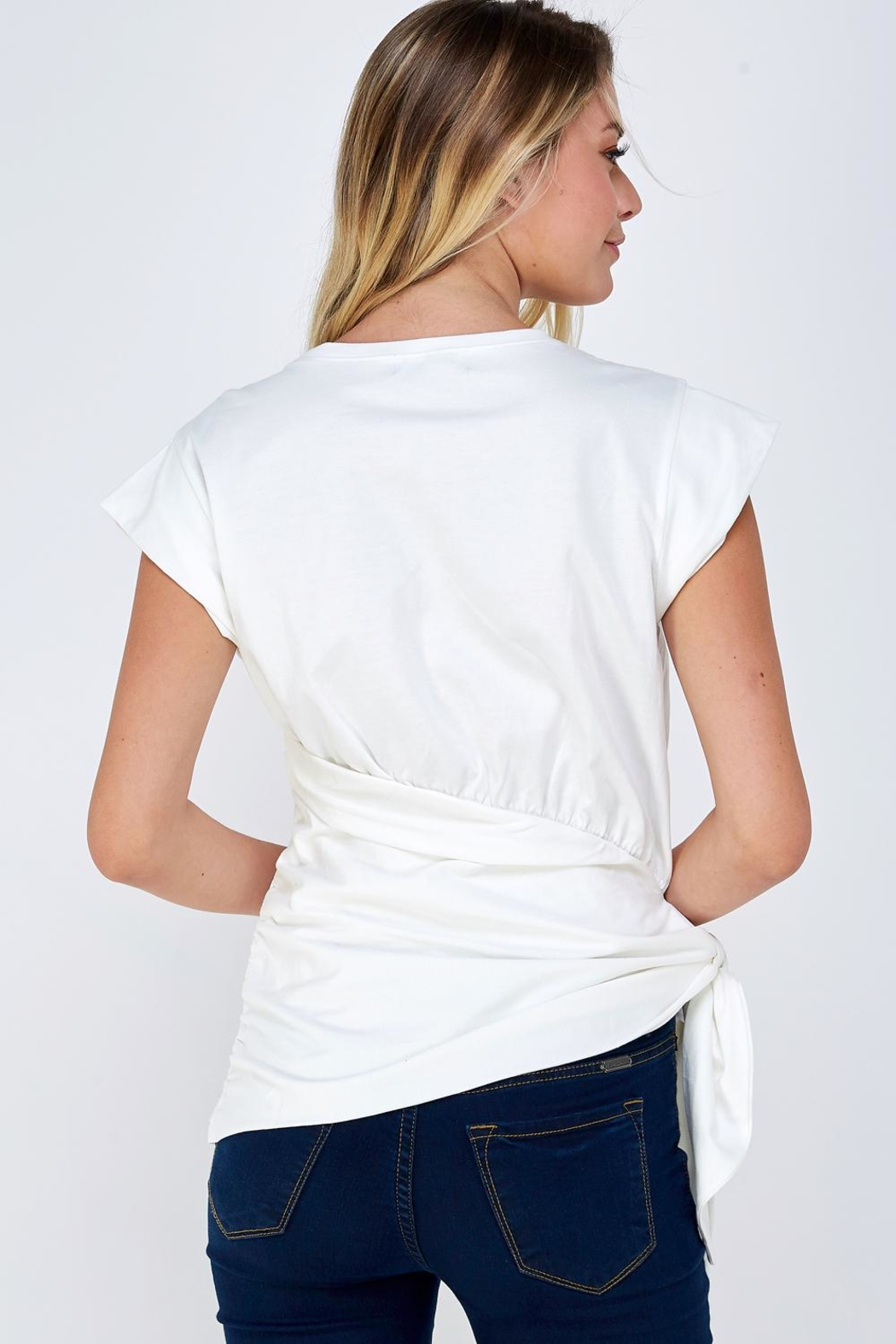 On Twelfth Wrapped Tie Tee - Back Cropped Image