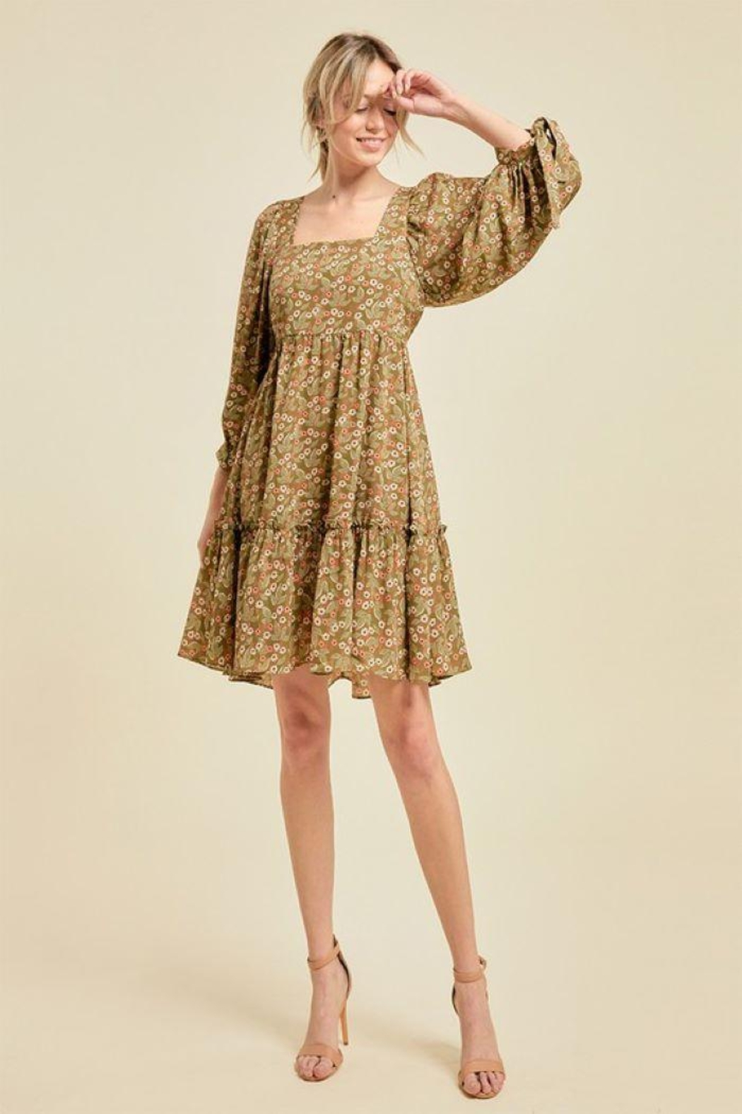 On You Floral Chain Babydoll Dress - Main Image