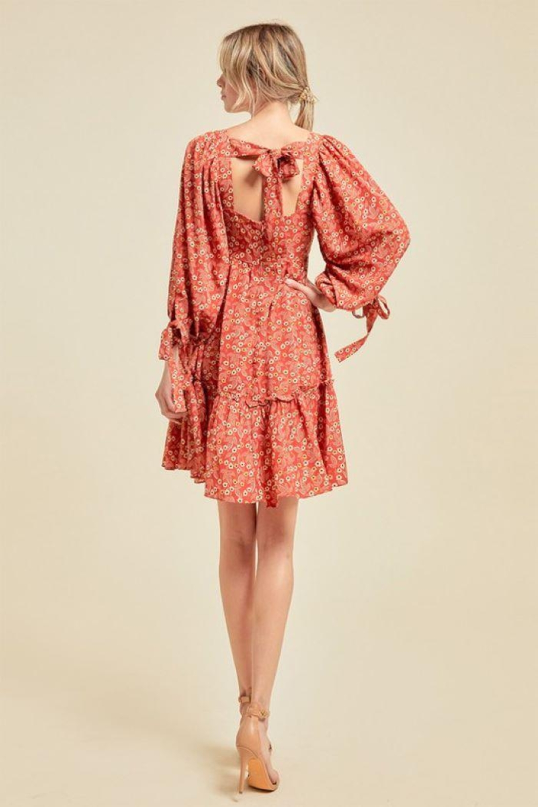 On You Floral Chain Babydoll Dress - Back Cropped Image