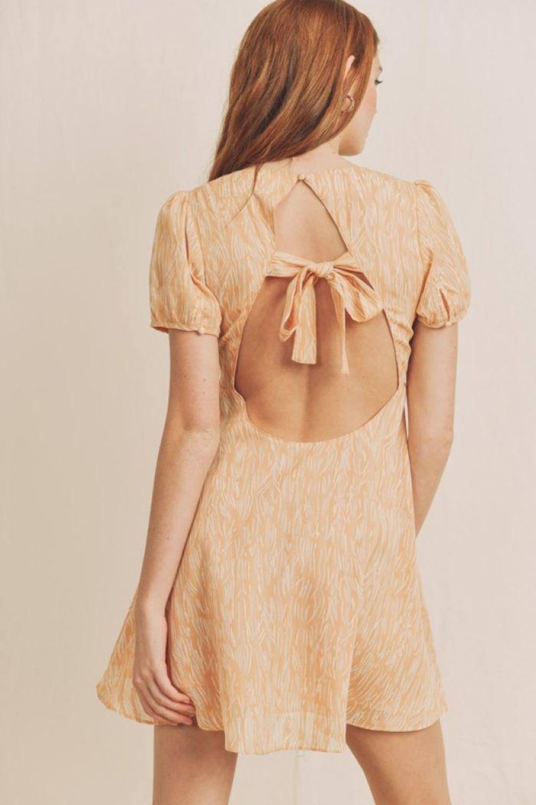 On You Puffed Sleeve Mini Dress - Front Full Image