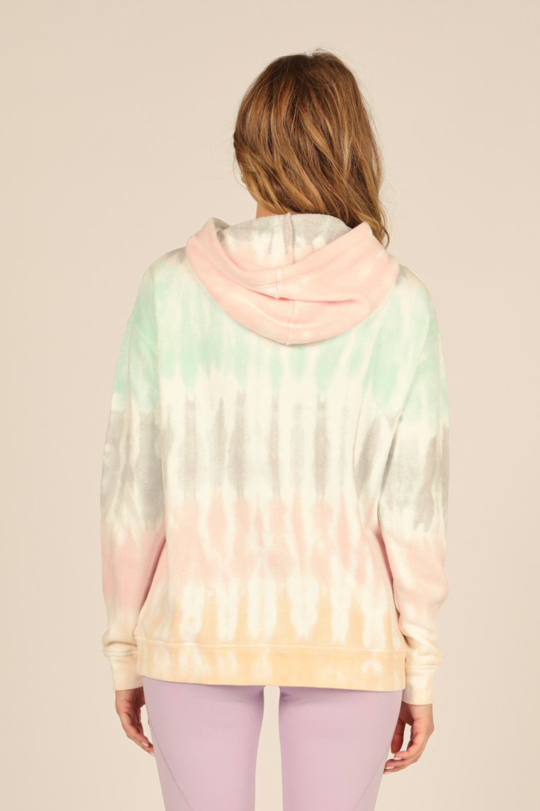 Vintage Havana  Onbre French Terry Distressed Hooded Sweatshirt - Front Full Image
