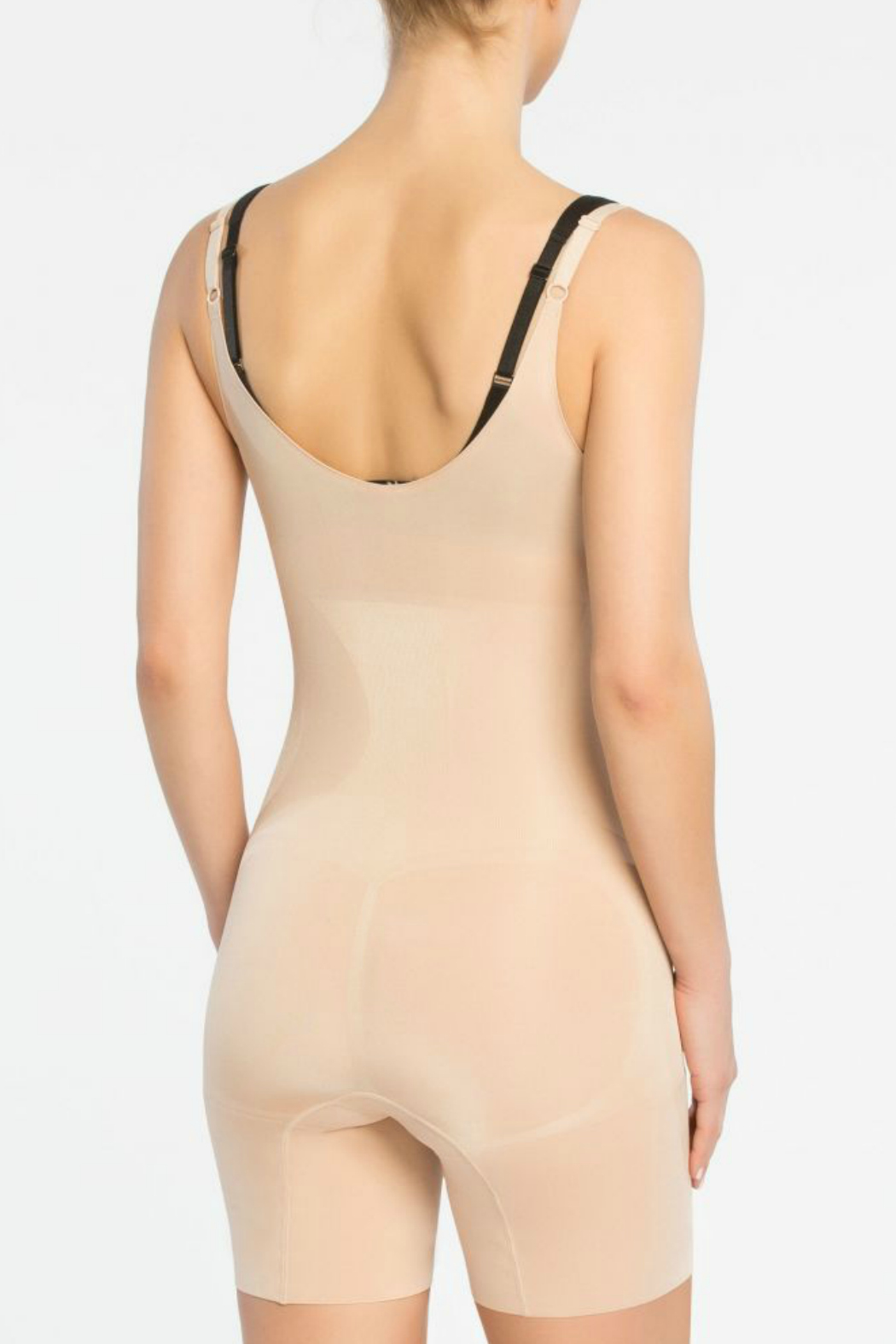 Spanx Oncore Open Bust Mid Thigh Bodysuit - Side Cropped Image