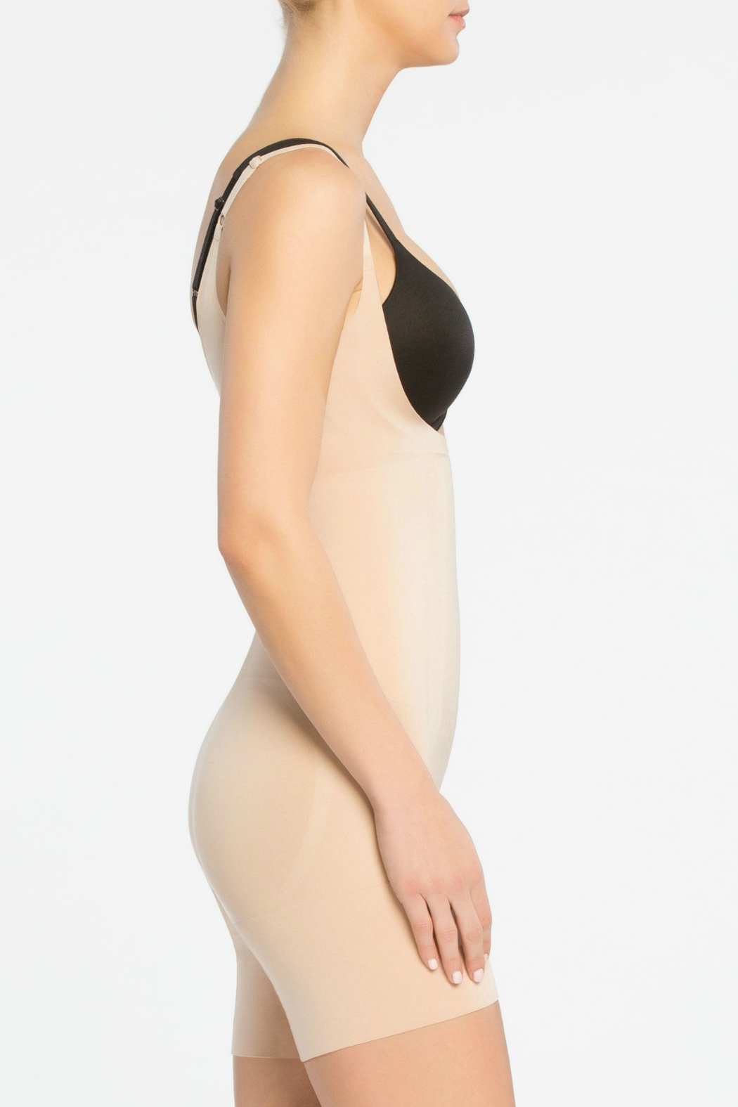 Spanx Oncore Open Bust Mid Thigh Bodysuit - Front Full Image