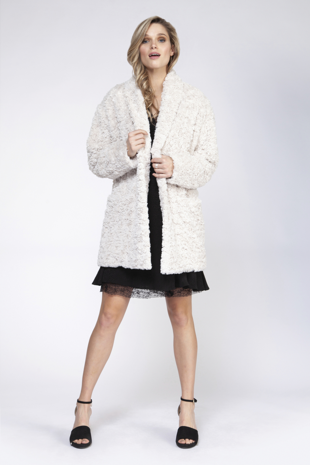 Black Tape/Dex One Button Teddy Coat - Front Cropped Image