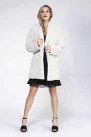 Black Tape/Dex One Button Teddy Coat - Front cropped