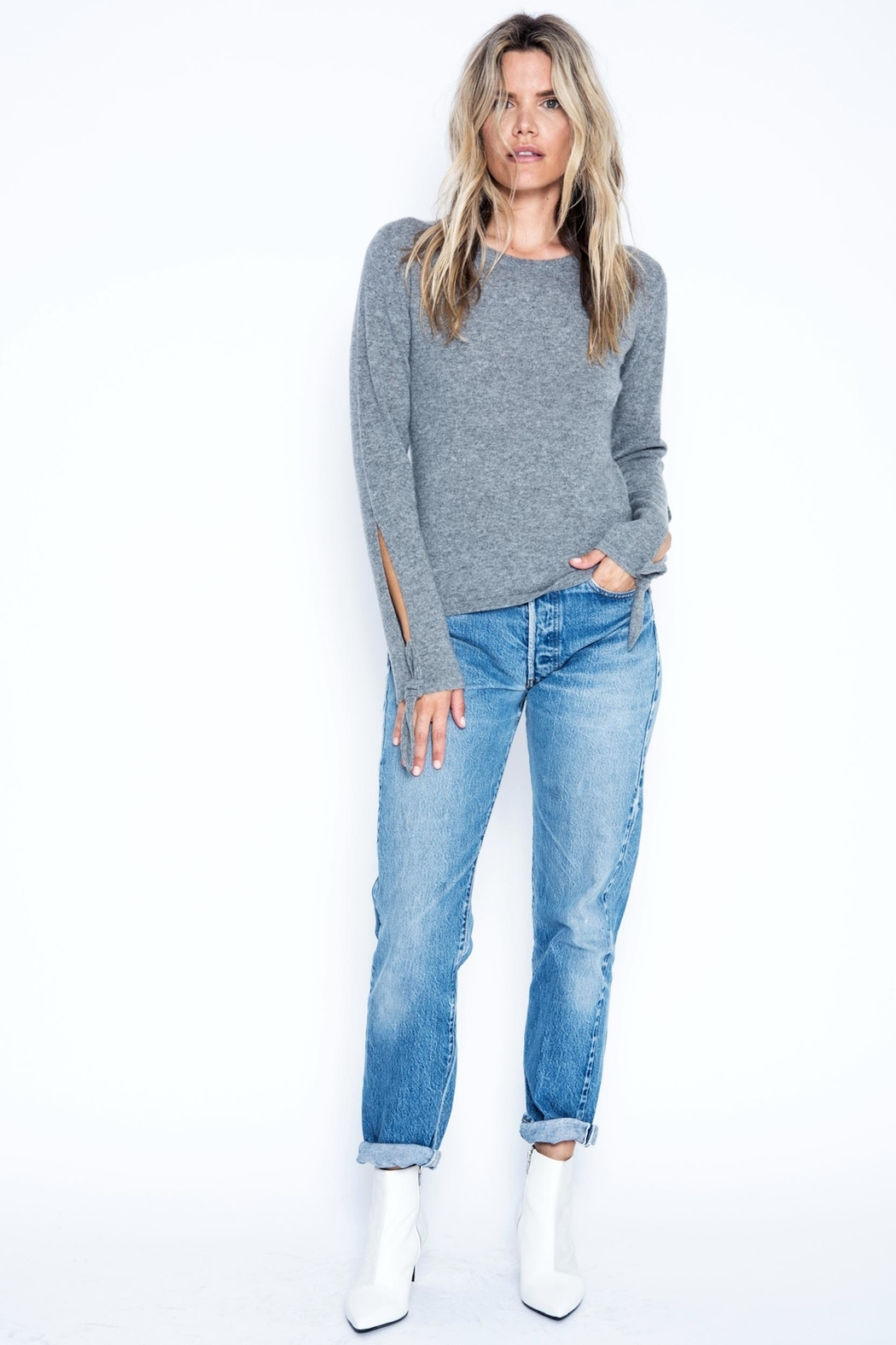 One Grey Day Kelly Cashmere Sweater - Main Image