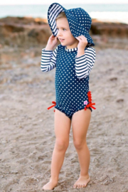 RuffleButts One Peice Rash Guard - Front full body