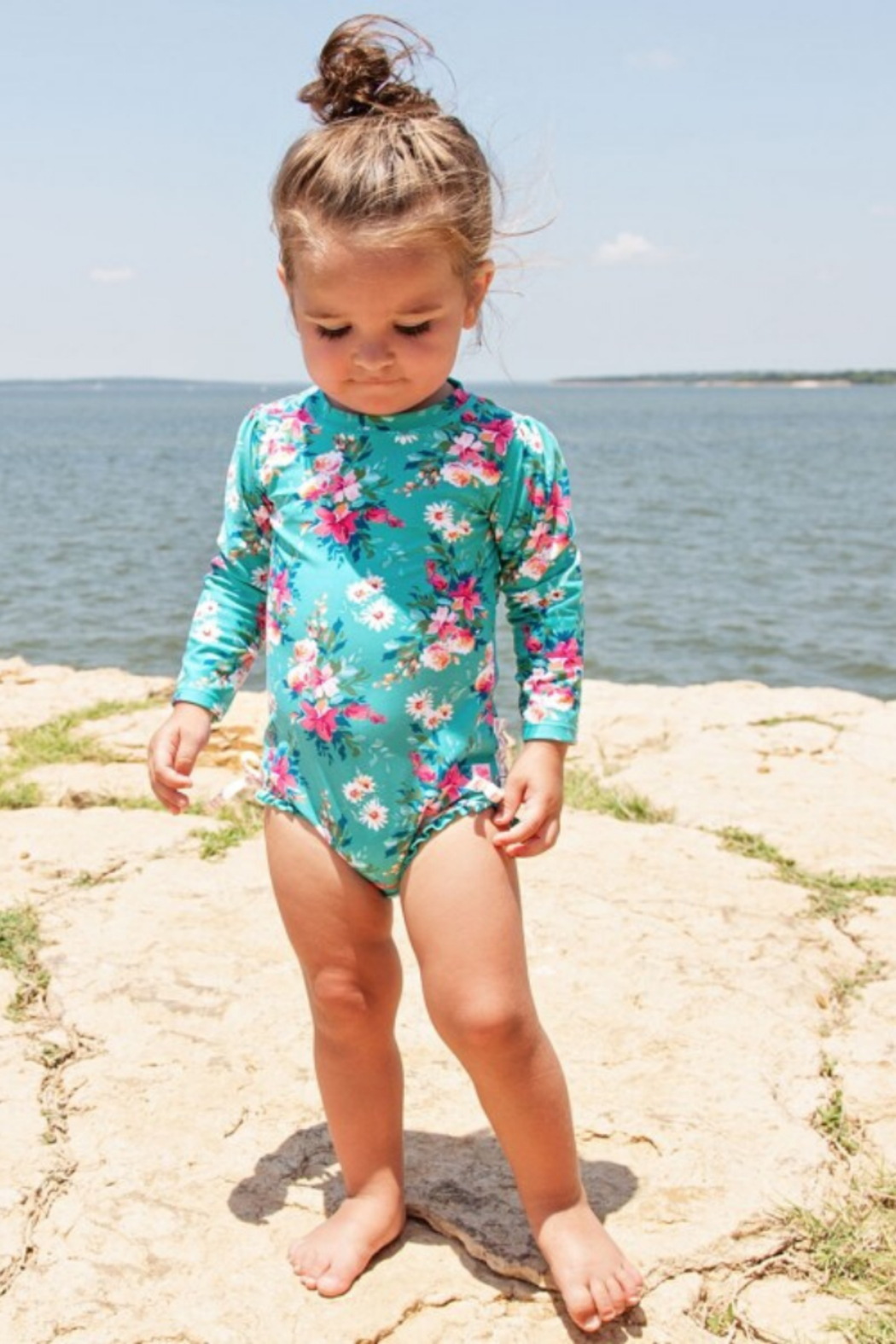 RuffleButts One Peice Rash Guard - Front Full Image