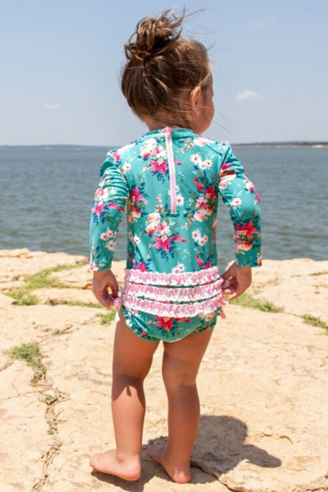 RuffleButts One Peice Rash Guard - Side Cropped Image