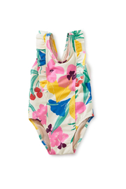 Tea Collection  One-Piece Ruffle Baby Swimsuit - Fruit Floral - Product Mini Image