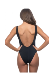 beach joy One-Piece Striped & Floral Print Print Swimsuit - Front full body