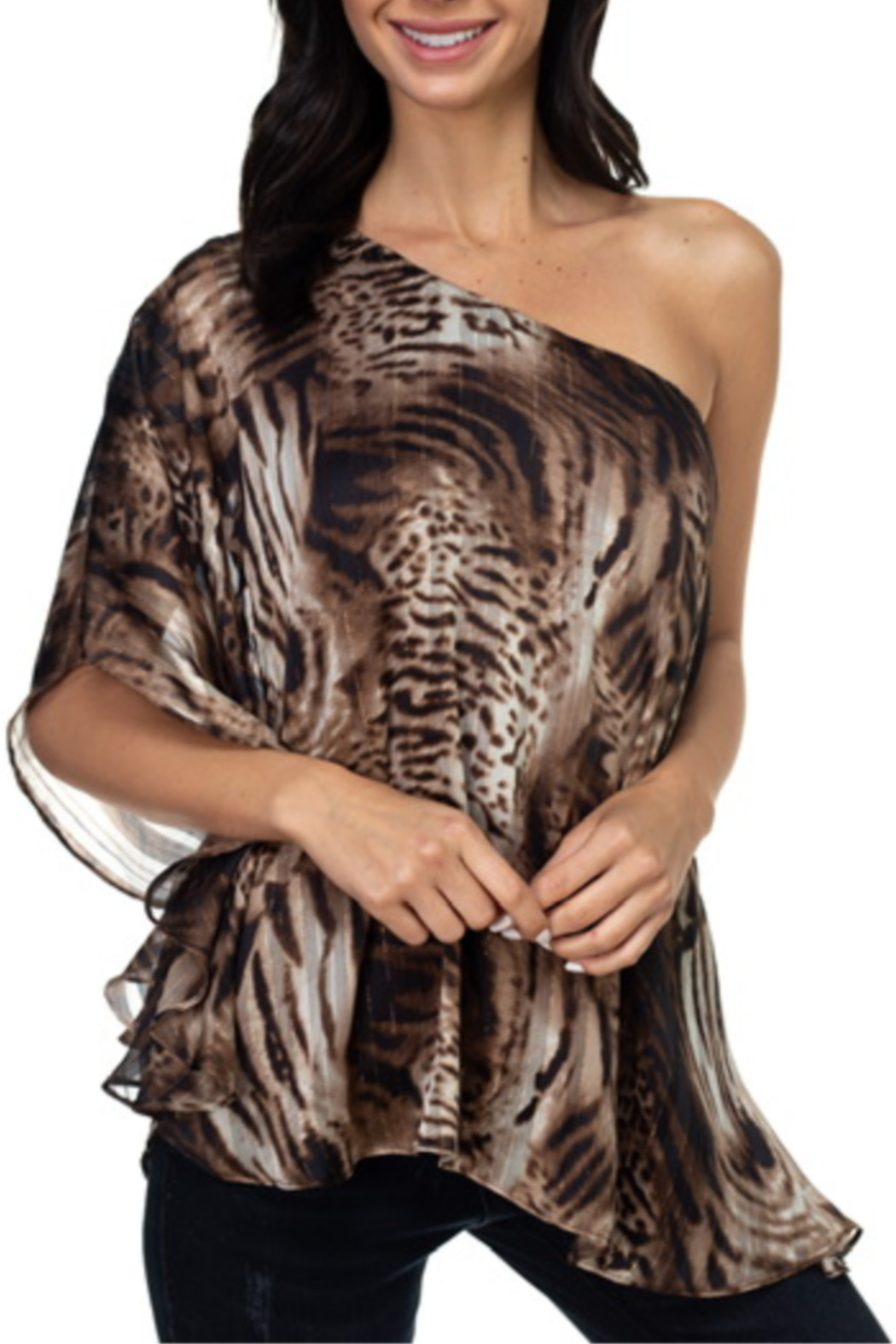 Ariella USA One Shoulder Animal Print Top - Front Cropped Image