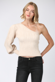 Fate One Shoulder Cable Knit Sweater - Product Mini Image