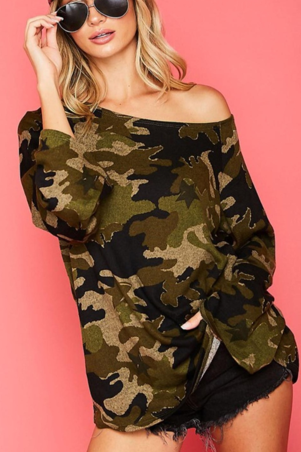 Fantastic Fawn One Shoulder Camo Top - Side Cropped Image