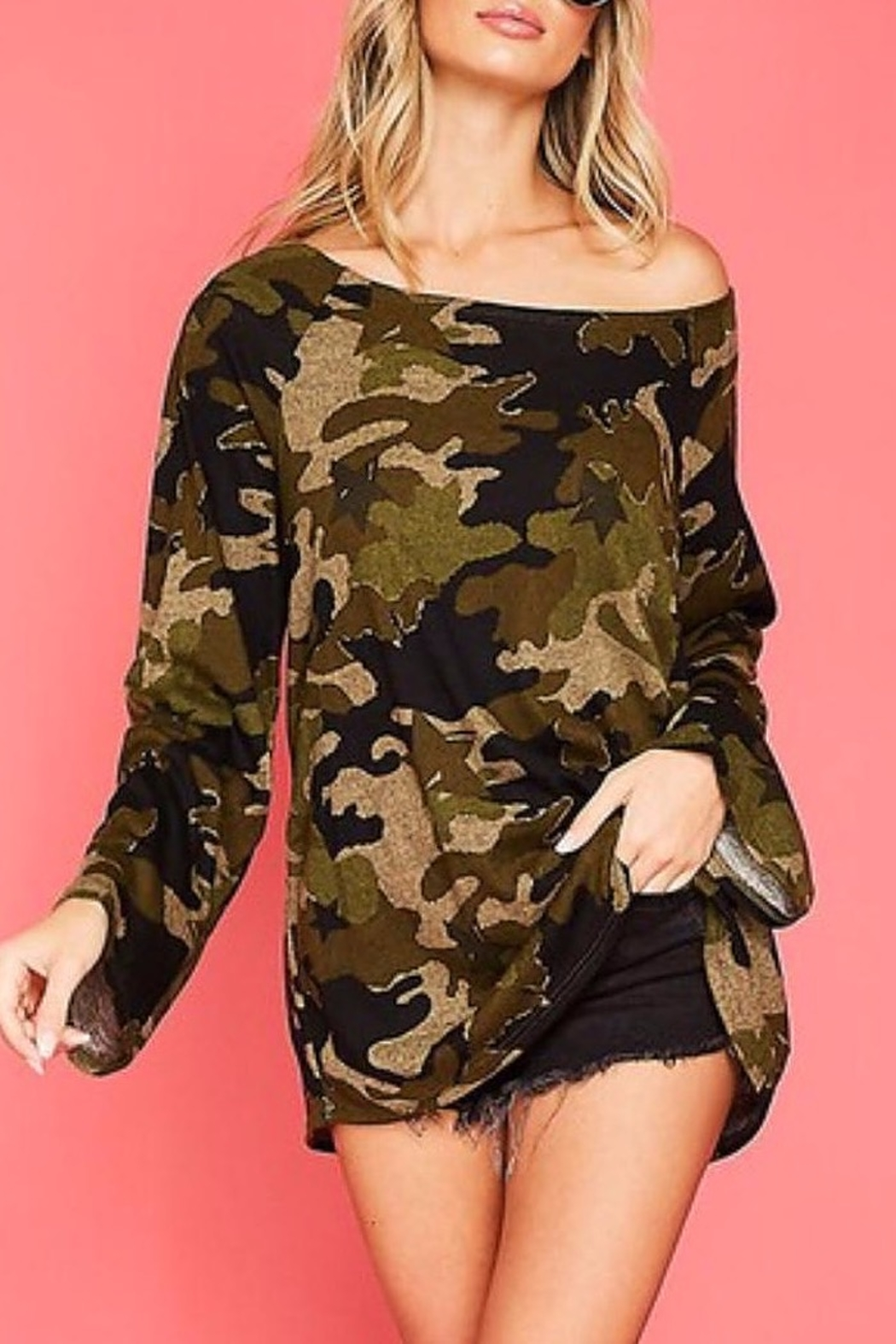 Fantastic Fawn One Shoulder Camo Top - Front Full Image