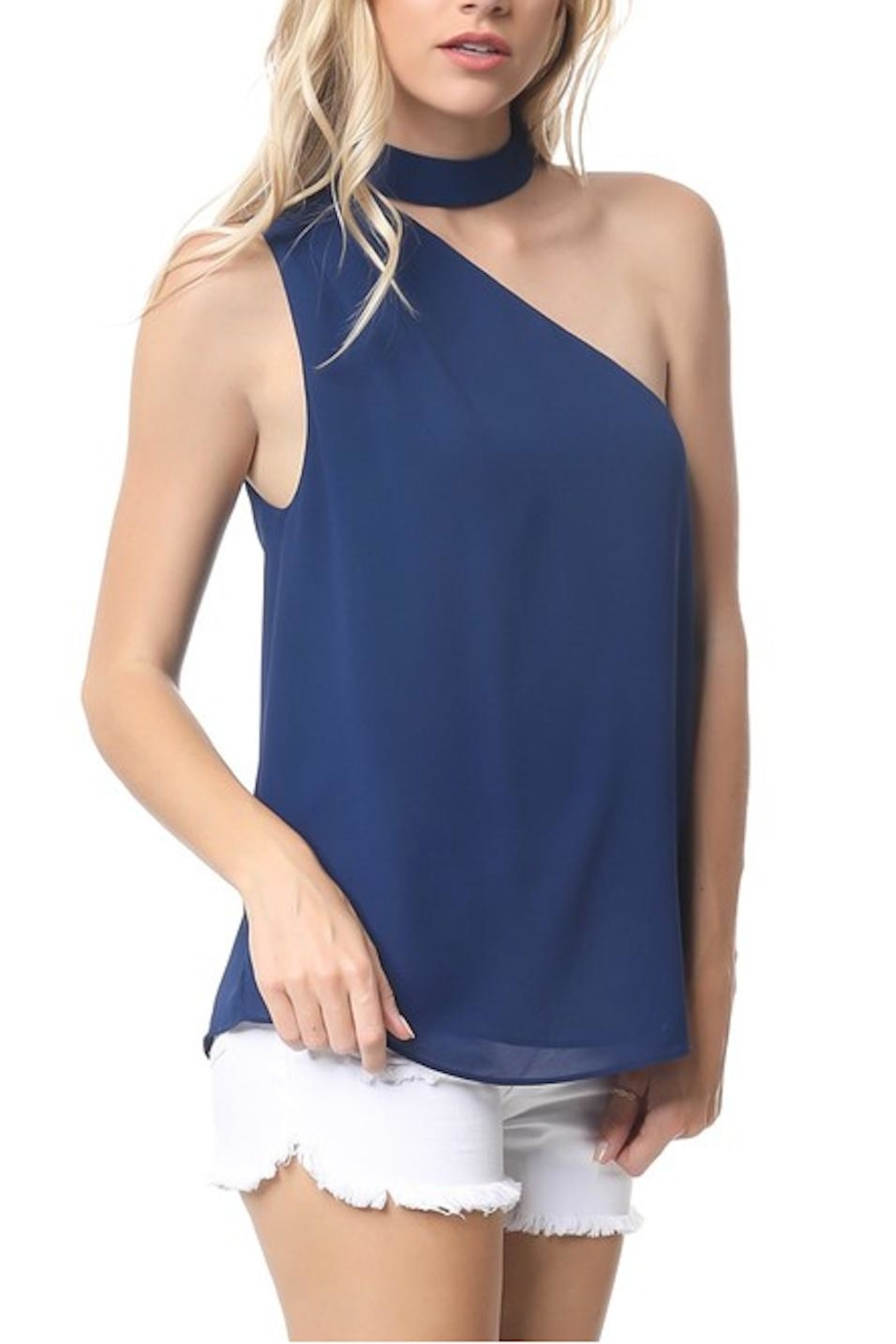 one-shoulder choker top