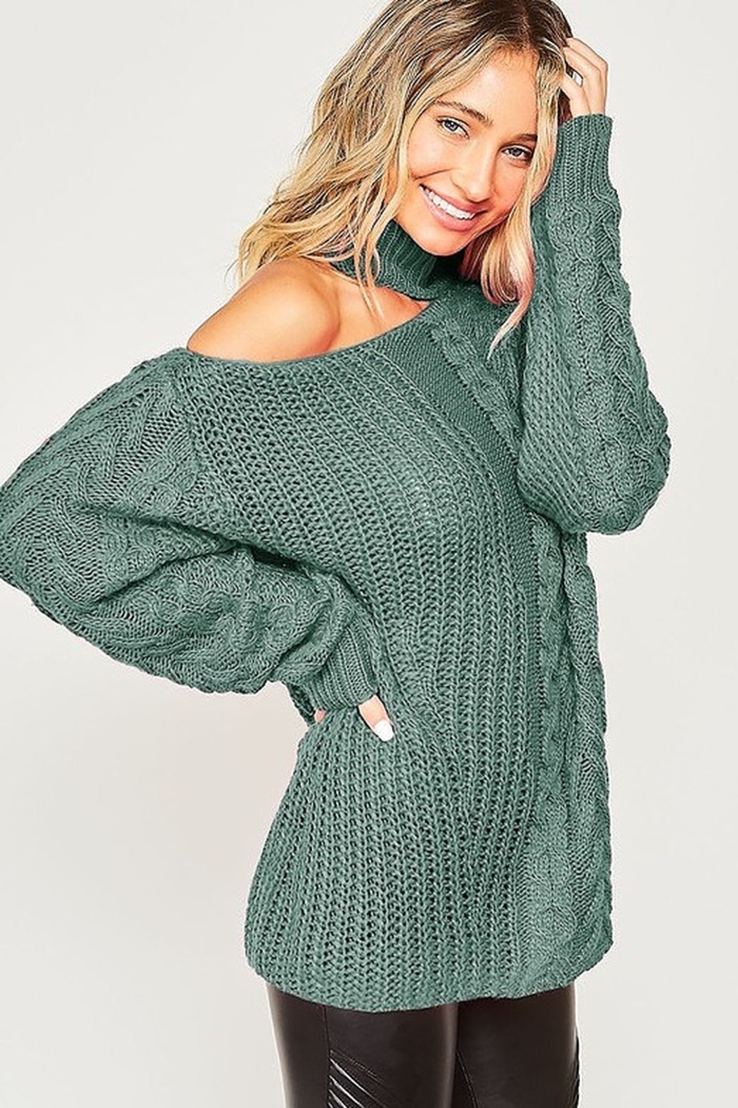 Peach Love California One Shoulder Chunky Cable Knit Sweater - Front Cropped Image