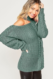 Peach Love California One Shoulder Chunky Cable Knit Sweater - Front cropped