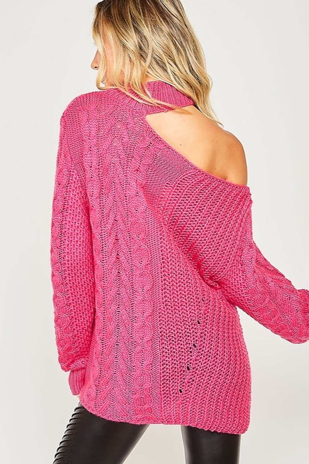Peach Love California One Shoulder Chunky Cable Knit Sweater - Front Full Image