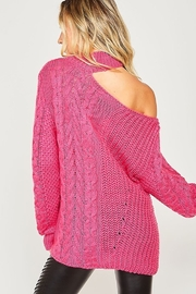 Peach Love California One Shoulder Chunky Cable Knit Sweater - Front full body