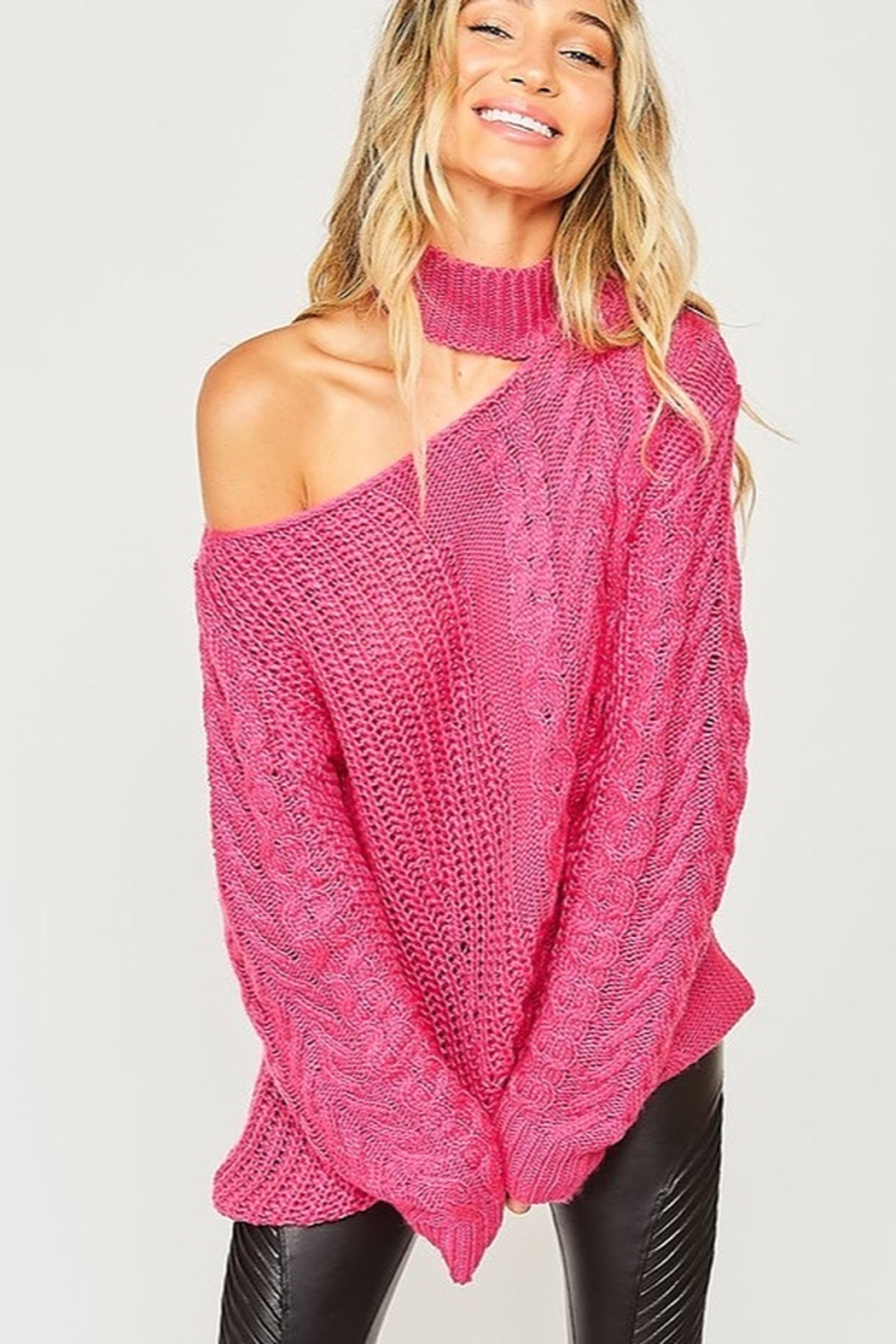 Peach Love California One Shoulder Chunky Cable Knit Sweater - Main Image