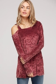 Peach Love One Shoulder Crushed Velvet Long Sleeve - Front cropped