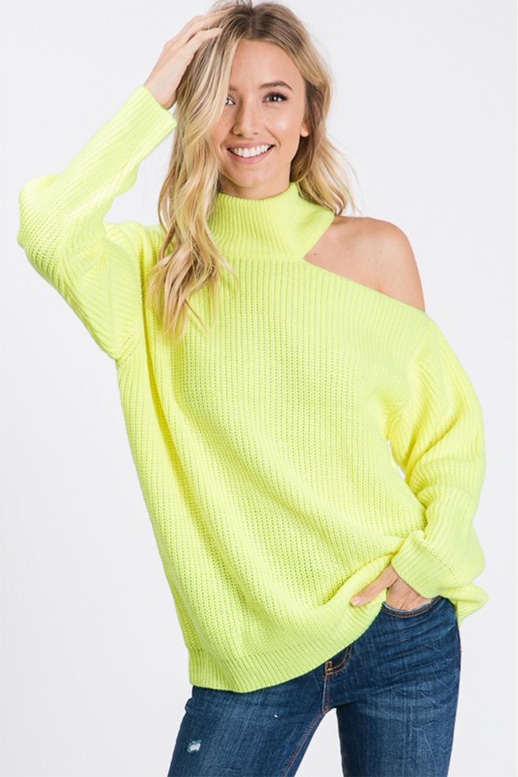 Style U One Shoulder Cut Out Sweater - Side Cropped Image