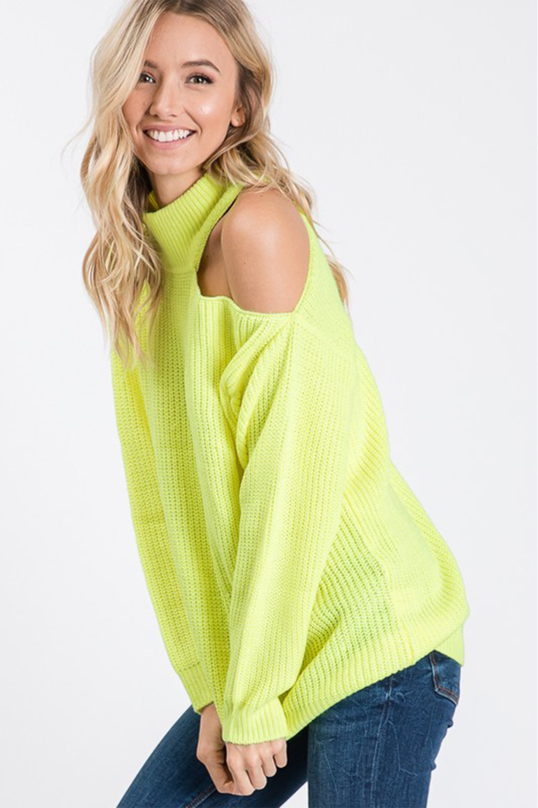 Style U One Shoulder Cut Out Sweater - Front Full Image