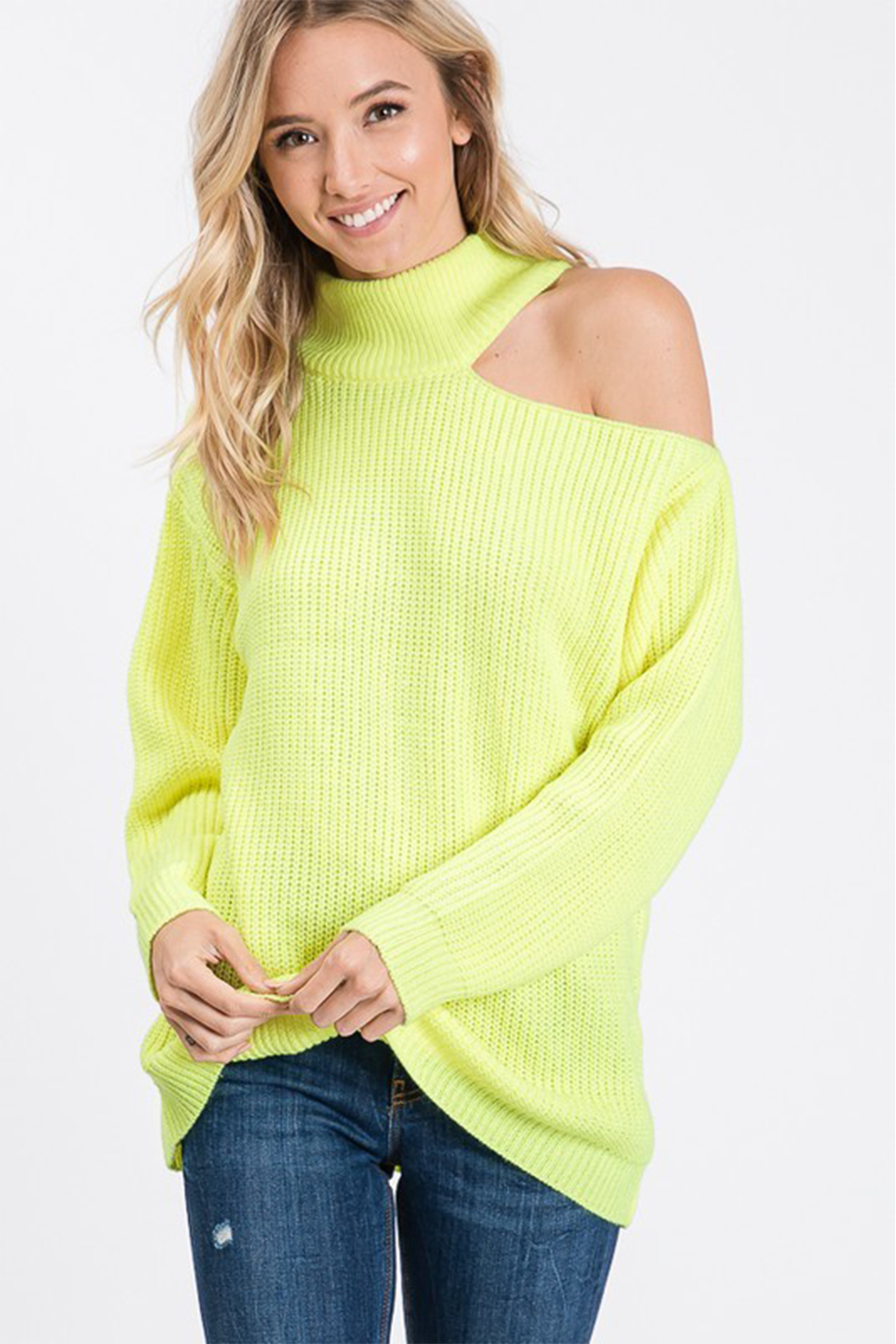 Style U One Shoulder Cut Out Sweater - Main Image