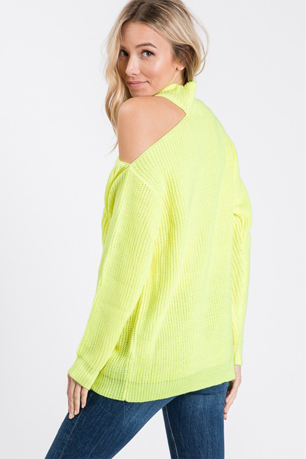 Style U One Shoulder Cut Out Sweater - Back Cropped Image