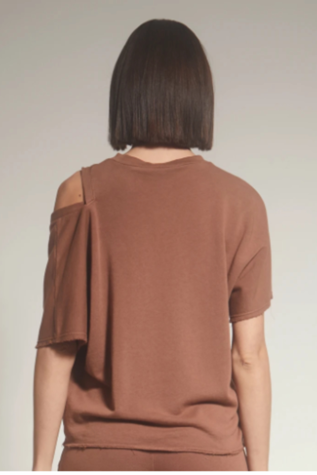 lanston sport One shoulder cut out Tee - Front Full Image