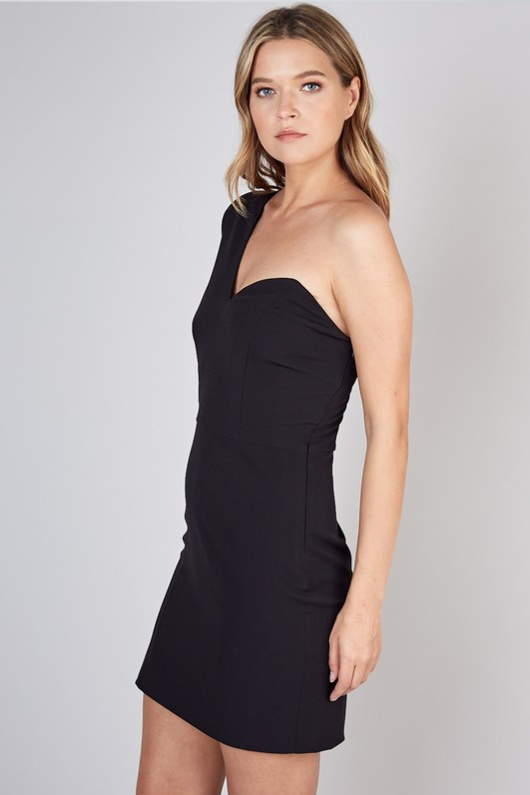 Olivaceous  One Shoulder Dress - Front Full Image