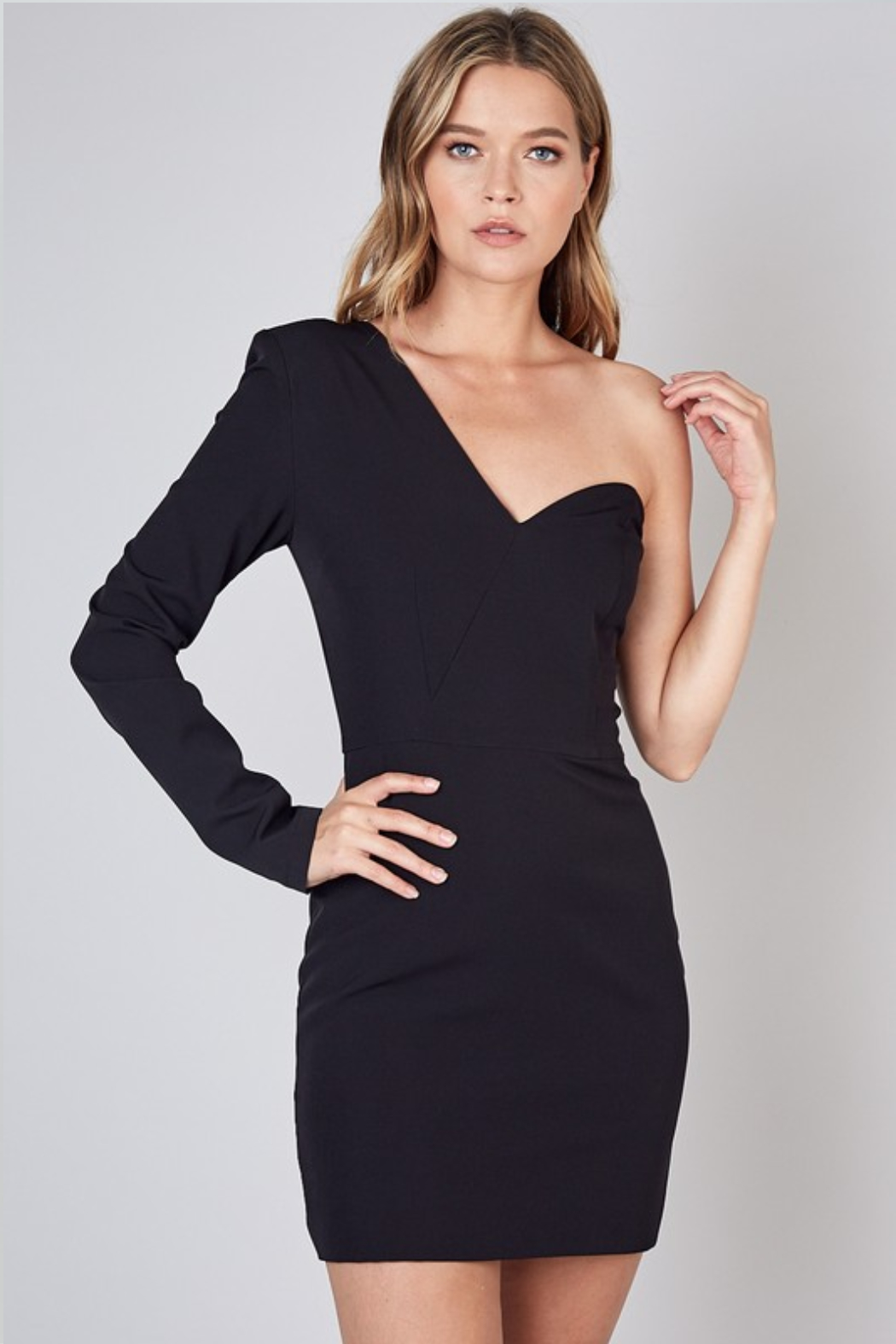 Olivaceous  One Shoulder Dress - Front Cropped Image
