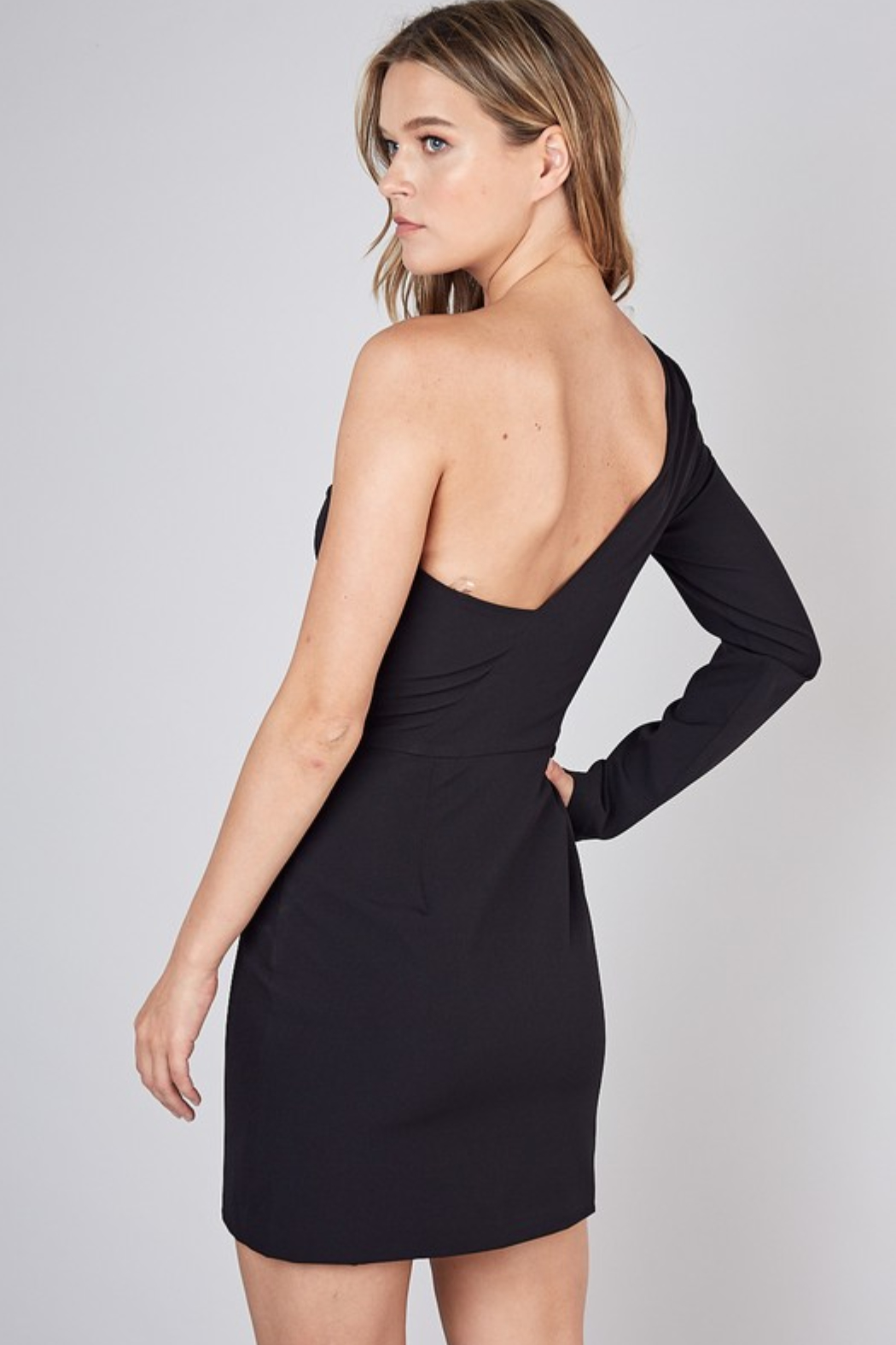 Olivaceous  One Shoulder Dress - Side Cropped Image