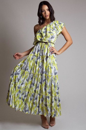 Latiste One-Shoulder Floral Dress from Los Angeles by Chikas — Shoptiques